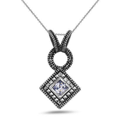 MS Pendant Square Ms Around Rhombus Clear Cz, Clear