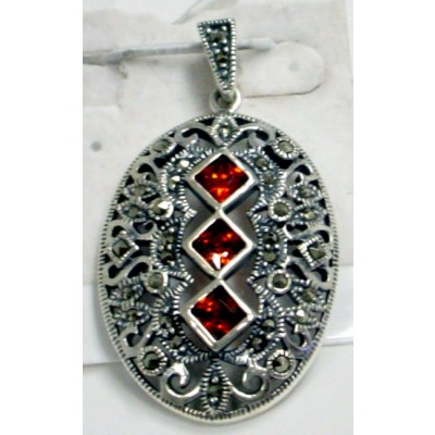 Marcasite Pndt Oval with Tri- Grnt Cubic Zirconia Cntr Filigree Z