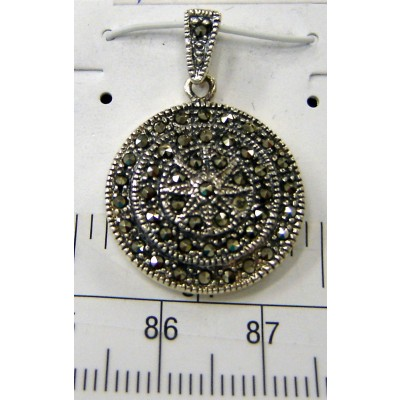 Marcasite Pndt 8-Point Star Cntr Tri-Circle