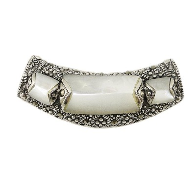 Marcasite Pendant Slider Tube with Mother of Pearl