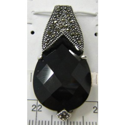 Marcasite Pndt Chess Cut Tear Drop Black Cubic Zirconia with Fish Tail Sl
