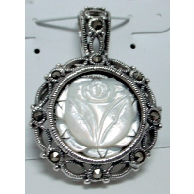 Marcasite Pndt Wh Mother of Pearl Flower Cameo