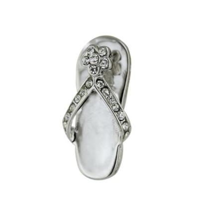 Sterling Silver Pendant Flip-Flop Clear Cubic Zirconia