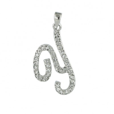 Sterling Silver Pendant Initial Y Clear Cubic Zirconia