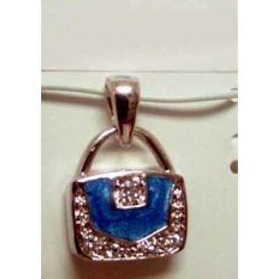 Sterling Silver Pendant Purse Angle Ocean Blue Enamel with Clear Cubic Zirconia Ed