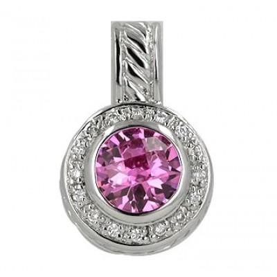 Sterling Silver Pendant 10mm Chess Cut Pink Cubic Zirconia Round with Clear Cubic Zirconia Aroun