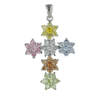 Sterling Silver Pendant Champagne+Light Per.+Pink+Lv+Yellow+Ame Cubic Zirconia Flower Cross