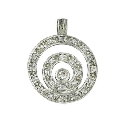 Sterling Silver Pendant 15mm Triple Circle