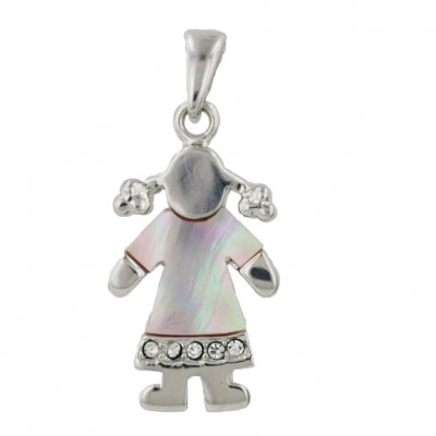 Sterling Silver Pndt Girl with Pink Mother of Pearl Shirt + Cubic Zirconia-Rhodium Plating Plated