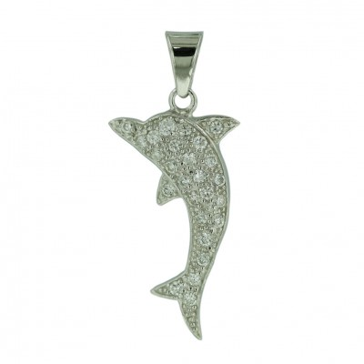 Sterling Silver Pendant Clear Cubic Zirconia Dolphin