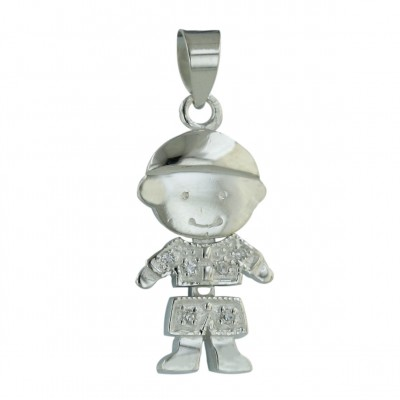 Sterling Silver Pendant Moving Boy with Pave Cubic Zirconia Shirt+Pant--E-Coat