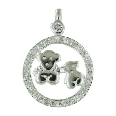 Sterling Silver Pendant Clear Cubic Zirconia Bezel Top+22mm Circle+2 Teddy Bear-