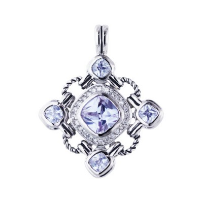 Sterling Silver Pendant 10X10mm Lavender Cubic Zirconia Cushion Ctr+4Pcs 5X5mm