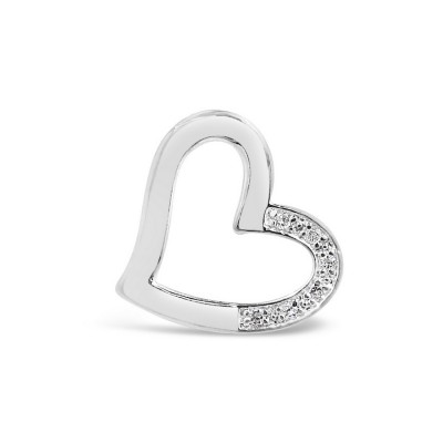 Sterling Silver Pendant Open Heart with Cubic Zirconia--Silver Plated