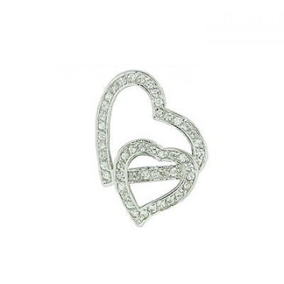 Sterling Silver Pendant Two Clear Cubic Zirconia Open Heart