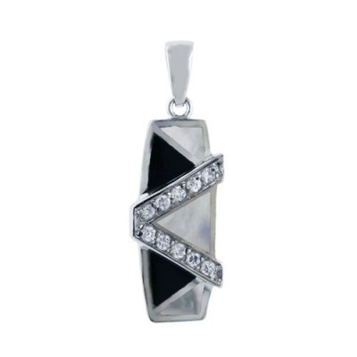 Sterling Silver Pendant Triangle White Mother of Pearl+Onyx with Cubic Zirconia 'V'
