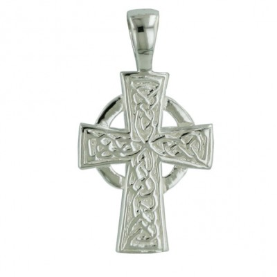 Sterling Silver Pendant Open Circle Filigree Cross--E-coated/Nickle Free