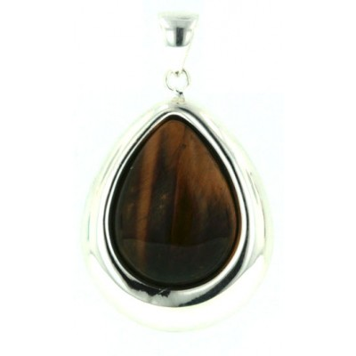 Sterling Silver Pendant (W=23mm) Tear Drop with Cabochon Tiger Eyes Dome