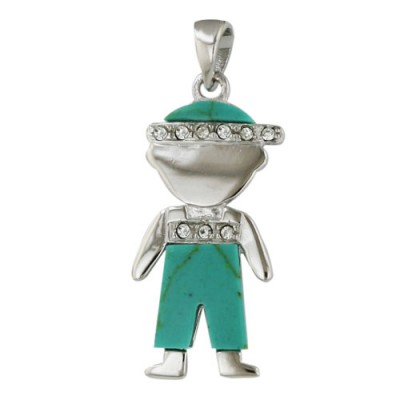 Sterling Silver Pendant Little Boy Wearing Reconstructed Turquoise+Clear Cubic Zirconia