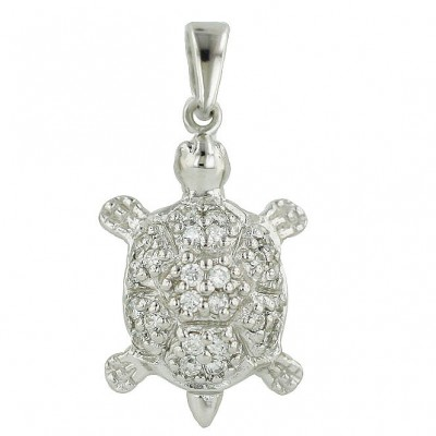 Sterling Silver Pendant Pave Clear Cubic Zirconia Turtle