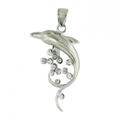 Sterling Silver Pendant Plain Dolphin with 12Pcs Clear Cubic Zirconia