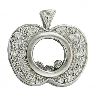 Sterling Silver Pendant Pave Clear Cubic Zirconia Motion Apple with 3Pcs Clear Cubic Zirconia