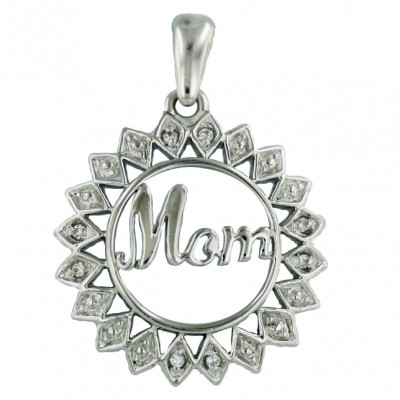 Sterling Silver Pendant Open Sunflower with Word'G 'Mom'