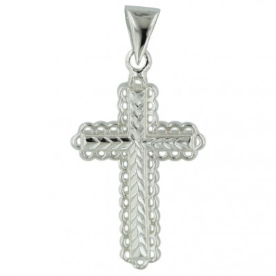 Sterling Silver Pendant Engraved Cross-E-C/Nickle Free
