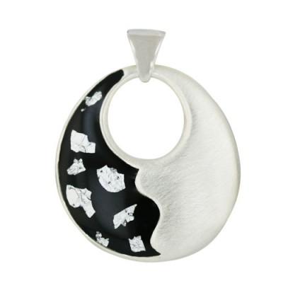 Sterling Silver Pendant 45X41mm Half Black Enamel with Silver Confetti+M