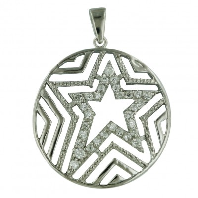 Sterling Silver Pendant 28mm Circle with Plain+Clear Cubic Zirconia Open Star Line