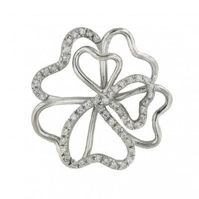 Sterling Silver Pendant Plain+Clear Cubic Zirconia Open Flower
