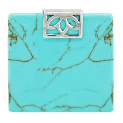 Sterling Silver Pendant 40X40mm Flat Square Faux Turquoise with Plain Open Rec