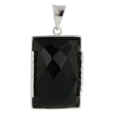 Sterling Silver Pendant 30mmx20mm Rectangular Onyx Chess Cut with Open Plai