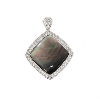 Sterling Silver Pendant Black Mother of Pearl Rhombus Clear Cubic Zirconia