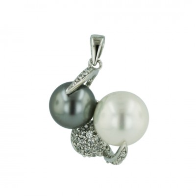 Sterling Silver Pendant 12mm White+11mm Gray Faux Pearl+9mm Clear Cubic Zirconia