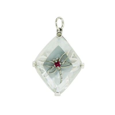 Sterling Silver Pendant 25X20mm Clear Cubic Zirconia Rhombus+Open Synthetic.Ruby#5 Dra