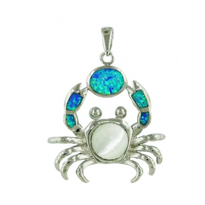 Sterling Silver Pendant Blue Opal (K-5) +White Cat Eyes Crab