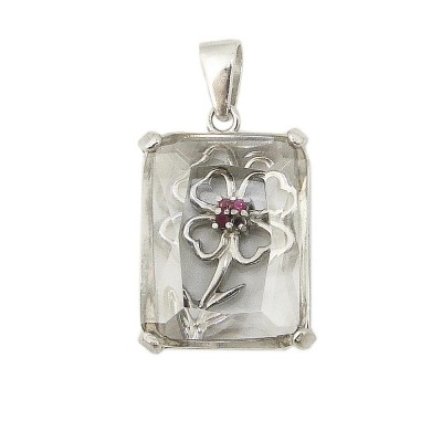 Sterling Silver Pendant (30X25mm) Rectangular Clear Cubic Zirconia with Open Ruby (#5) Cor
