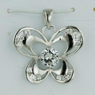 Sterling Silver Pendant 6.5mm Clear Cubic Zirconia Ctr Open Butterfly