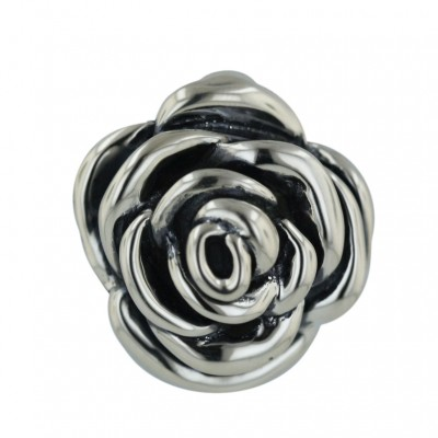 Sterling Silver Pendant 30mm Plain Rose with Oxidized Inner Petals--