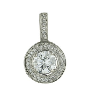 Sterling Silver Pendant 6.5mm Round Micropave Clear Cubic Zirconia with Rhodium Plating Plating