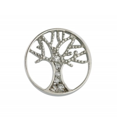 Sterling Silver Pendant 14mm Plain Open Clear Cubic Zirconia Tree of Life Inside-