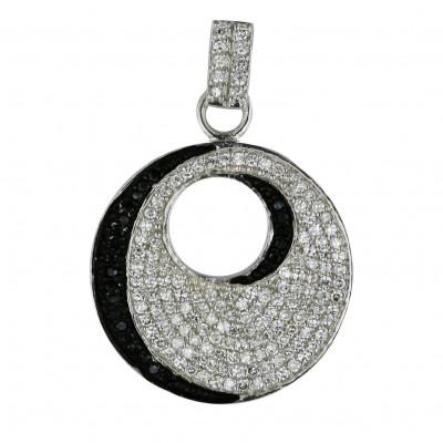 Sterling Silver Pendant 26mm Bk+Clear Cubic Zirconia Open Round--Bkrh/Nickle Free--