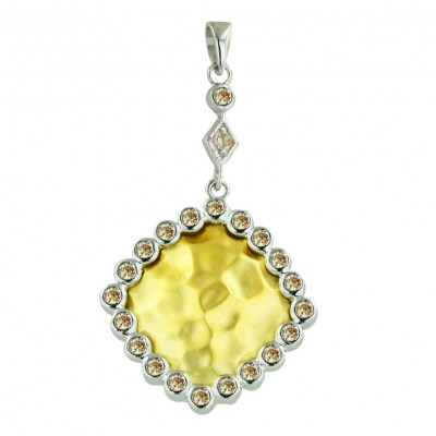 Sterling Silver Pendant 22X22mm 2 Tone Gold Rhombus with Champagne Cubic Zirconia Around