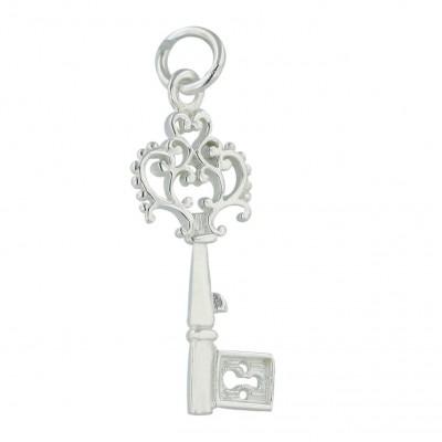 Sterling Silver Pendant Plain Swirl Flower Key--E-coated/Nickle Free--