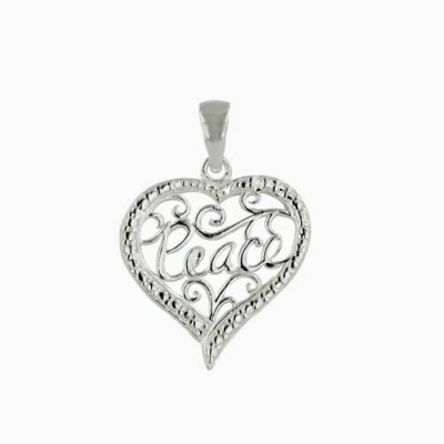 """Sterling Silver Pendant Plain Open Swirl Heart with """"Peace""""--Rhodium Plating/Nickle Free-"""