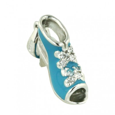 Sterling Silver Pendant Turquoise Epoxy#11 Open Toed Sandal with Clear Cubic Zirconia Ribbo