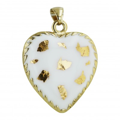 Sterling Silver Pendant 43X42mm White Enamel with Gold Confetti Heart
