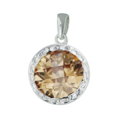 Sterling Silver Pendant 13mm Champagne Cubic Zirconia Round Chess Cut with Hammerred Shr