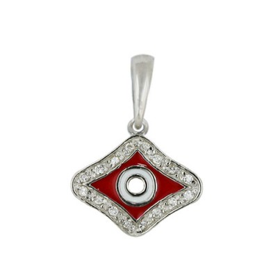 Sterling Silver Pendant 17X13mm Red+White Enamel Rhombus Eyes with